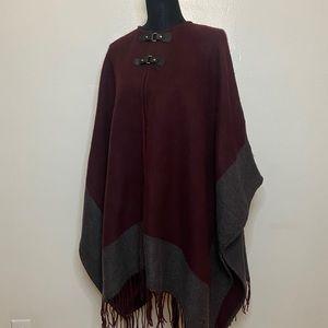 Burgundy & Grey Cape Sweater w/ clasps OS